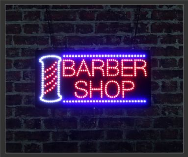 Barber Shop + Pole LED Sign